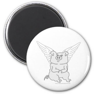 Flying Pig Cartoon 2 Inch Round Magnet