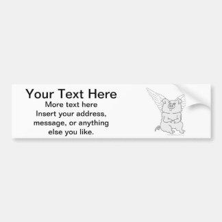 Flying Pig Cartoon Car Bumper Sticker
