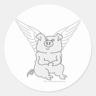 Flying Pig Cartoon Classic Round Sticker