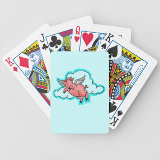 Flying pig cartoon humor playing cards