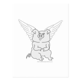 Flying Pig Cartoon Postcard