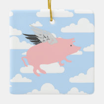 Flying Pig Ceramic Ornament