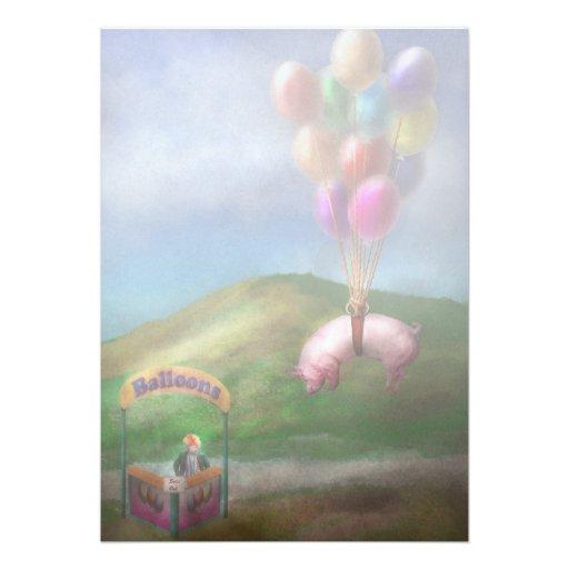 Flying Pig - Child - How I wish I were a bird Custom Invitation