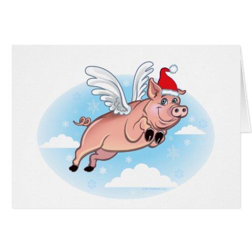 Flying Pig Christmas Card