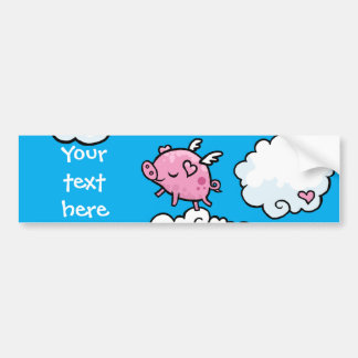 Flying pig clouds customisable bumper sticker car bumper sticker