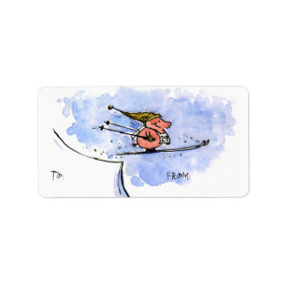 Flying Pig - Cool Ski Jumping Pig Athlete Label