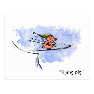 Flying Pig - Cool Ski Jumping Pig Athlete Postcard