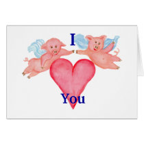 Flying Pig couple I heart you  Heart  Valentine Card