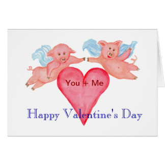 Flying Pig couple with Red Heart  Valentine Card