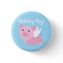 Flying Pig Cute 1st Birthday Button Pin