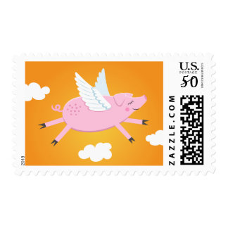 Flying pig cute cartoon postage stamps