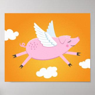 Flying pig cute cartoon wall art for kids poster