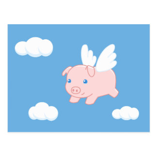 Flying Pig - Cute Piglet with Wings Postcard