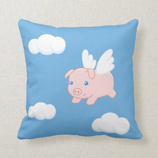 Flying Pig - Cute Piglet with Wings Throw Pillow