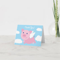 Flying Pig Cute Thank You 1st Birthday Cards