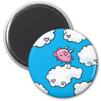 Flying pig dances on clouds 2 inch round magnet
