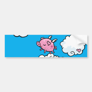 Flying pig dances on clouds bumper stickers