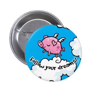 Flying pig dances on clouds pinback button