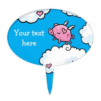 Flying Pig dances on Clouds Cake Topper