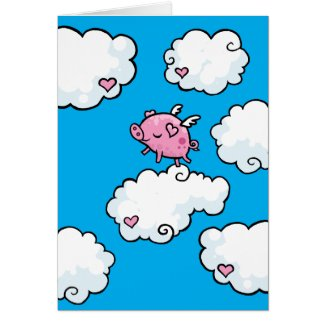 Flying pig dances on clouds