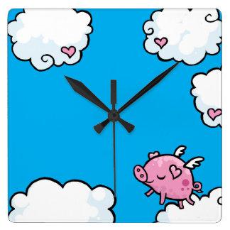 Flying pig dances on clouds clock
