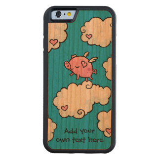 Flying Pig Dances on Clouds Customisable Carved® Cherry iPhone 6 Bumper