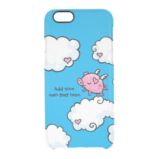 Flying Pig Dances on Clouds Customisable Clear iPhone 6/6S Case