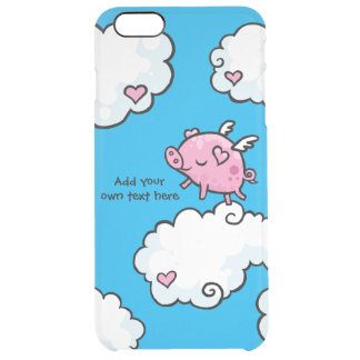 Flying Pig Dances on Clouds Customisable Clear iPhone 6 Plus Case