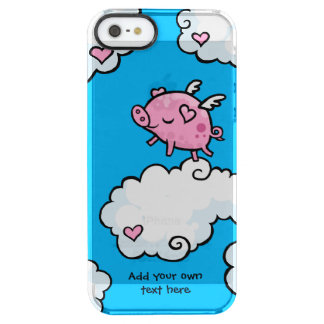 Flying Pig Dances on Clouds Customisable Clear iPhone SE/5/5s Case
