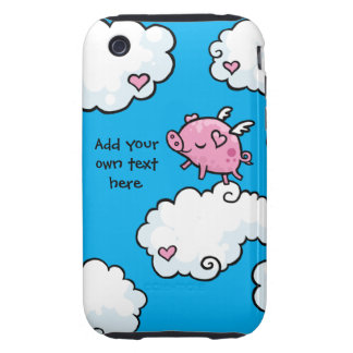 Flying Pig Dances on Clouds Customisable iPhone 3 Tough Case