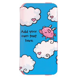 Flying Pig Dances on Clouds Customisable iPhone 6/6s Wallet Case