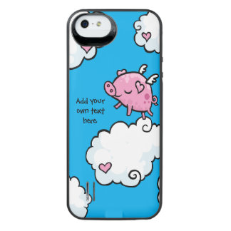 Flying Pig Dances on Clouds Customisable iPhone SE/5/5s Battery Case