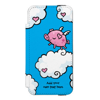 Flying Pig Dances on Clouds Customisable iPhone SE/5/5s Wallet Case
