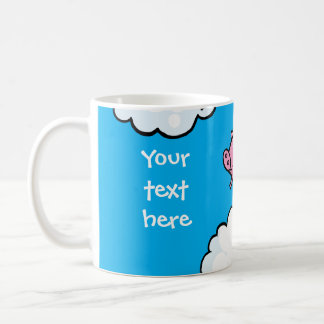 Flying pig dances on clouds customisable mug