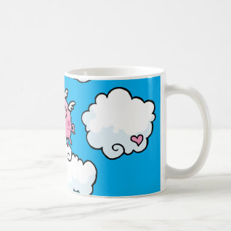 Flying pig dances on clouds customisable mug