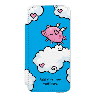 Flying Pig Dances on Clouds Customisable Wallet Case For iPhone SE/5/5s