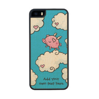 Flying Pig Dances on Clouds Customisable Wood iPhone SE/5/5s Case
