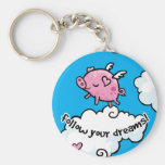 Flying pig dances on clouds basic round button keychain