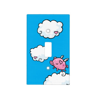 Flying pig dances on clouds light switch cover