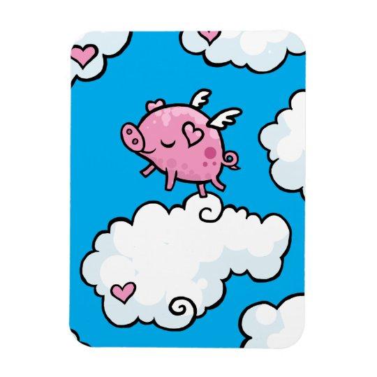 Flying pig dances on clouds magnet
