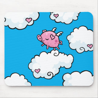 Flying pig dances on clouds mouse pad