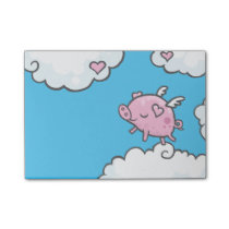 Flying pig dances on clouds note