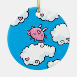 Flying pig dances on clouds Double-Sided ceramic round christmas ornament