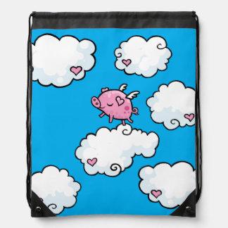 Flying pig dances on clouds drawstring backpack