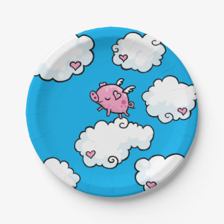 Flying Pig Dances on clouds plate 7 Inch Paper Plate