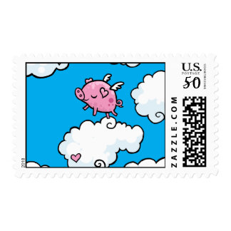 Flying pig dances on clouds postage
