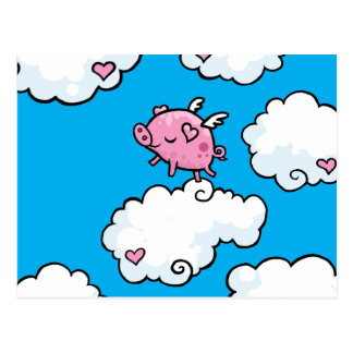 Flying pig dances on clouds postcard