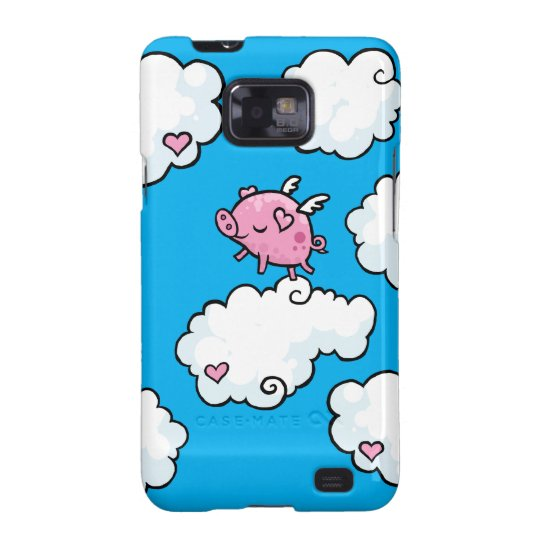 Flying pig dances on clouds samsung galaxy SII case