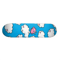 Flying pig dances on clouds skateboard deck