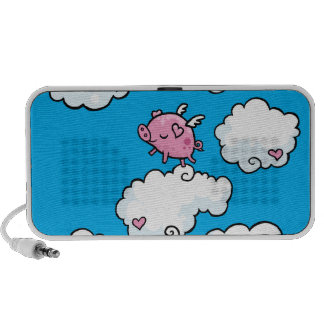 Flying pig dances on clouds travel speaker